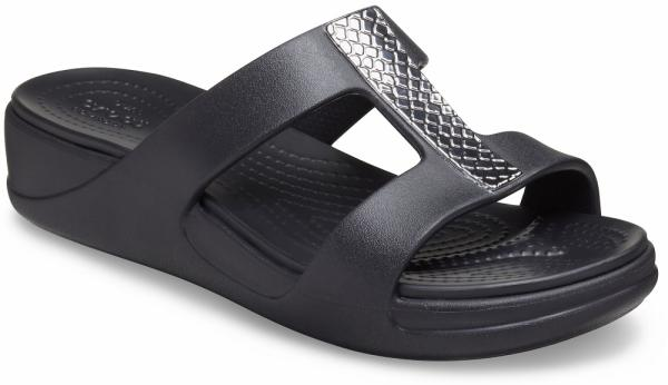 Womens Crocs Monterey Metallic Slip-On Wedge