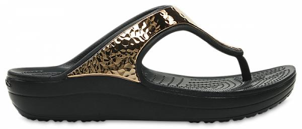 Womens Crocs Sloane Hammered Metallic Flips
